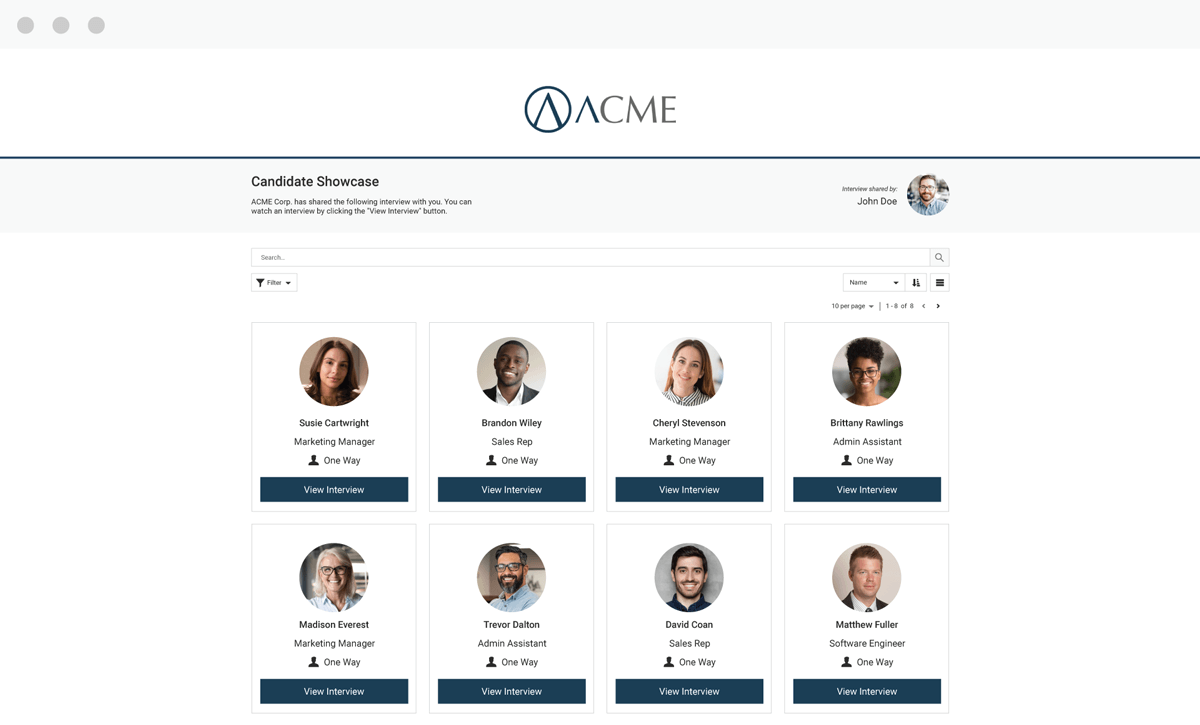 Sharing Video Interviews