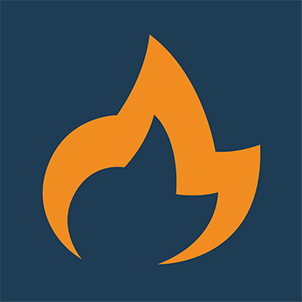 flame icon with blue background